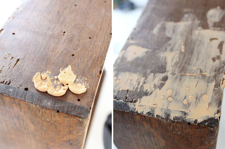recuperar mobiliario vintage reparación de daños con pasta para madera
